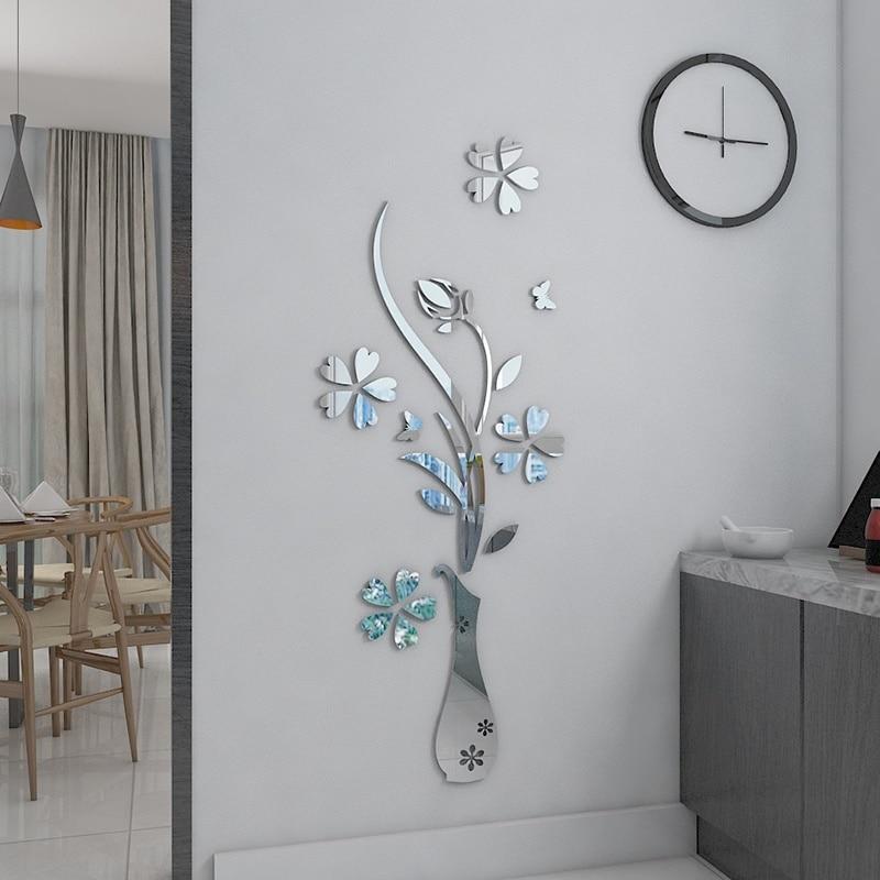 Mirror Flower Vase 3d Crystal Acrylic Diy 3d Wall Stickers
