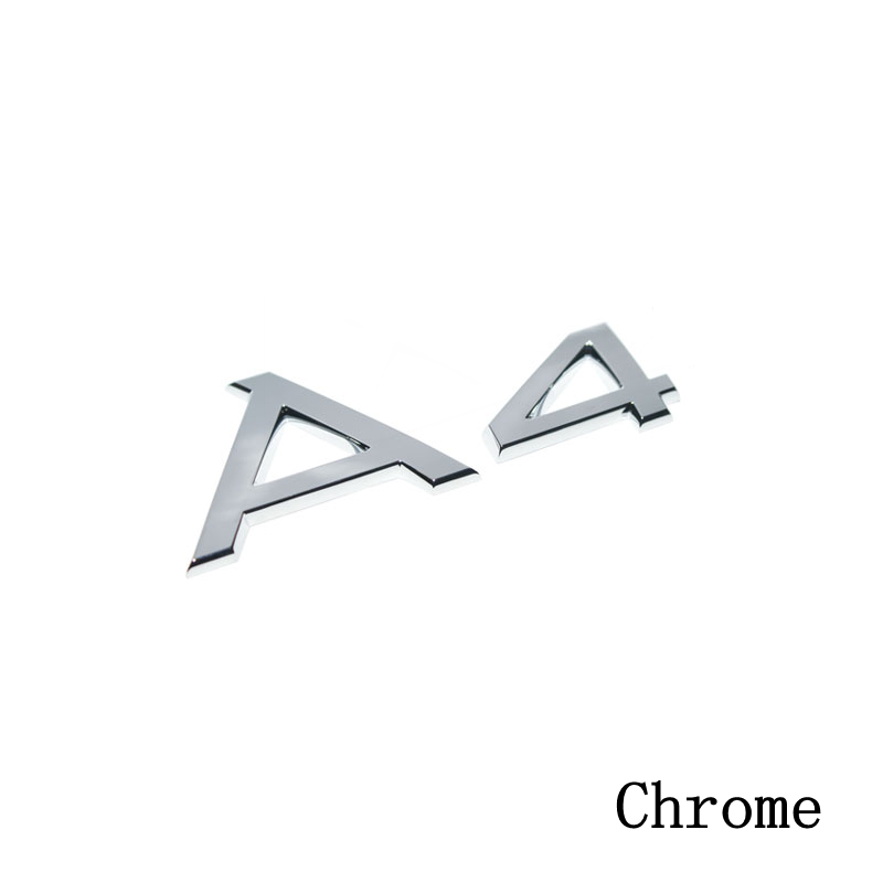 100pcs/lot  Excellent Chrome A4 Silver Rear Badge Emblem Sign Sticker Decal