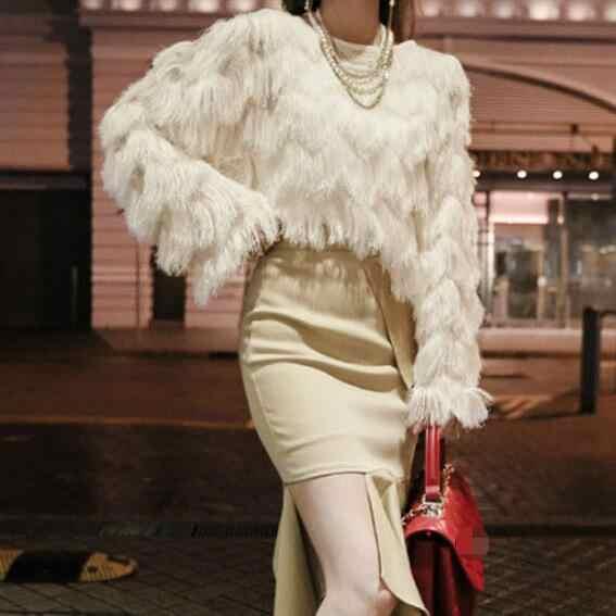 2019 春女性クリーミー-ホワイト毛深いロングバットスリーブフェイクファーセーターレディースルーズプルオーバー Knitshirt トップ DF520