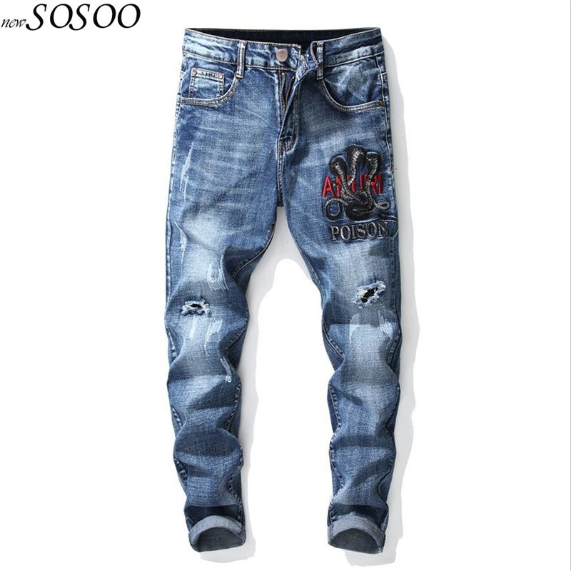 JiSuTong Brand Store New Fashion Poison Printed Men Jeans Embroidery 100% Cotton Denim Pants Top Quality Mans Pants #1772