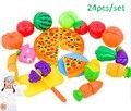 24 unids/set Plástico Juego de Cocina de Alimentos Vegetales, Frutas Niños Juegos de imaginación Juguetes Educativos Cocinero Cosplay Material de Seguridad De Corte