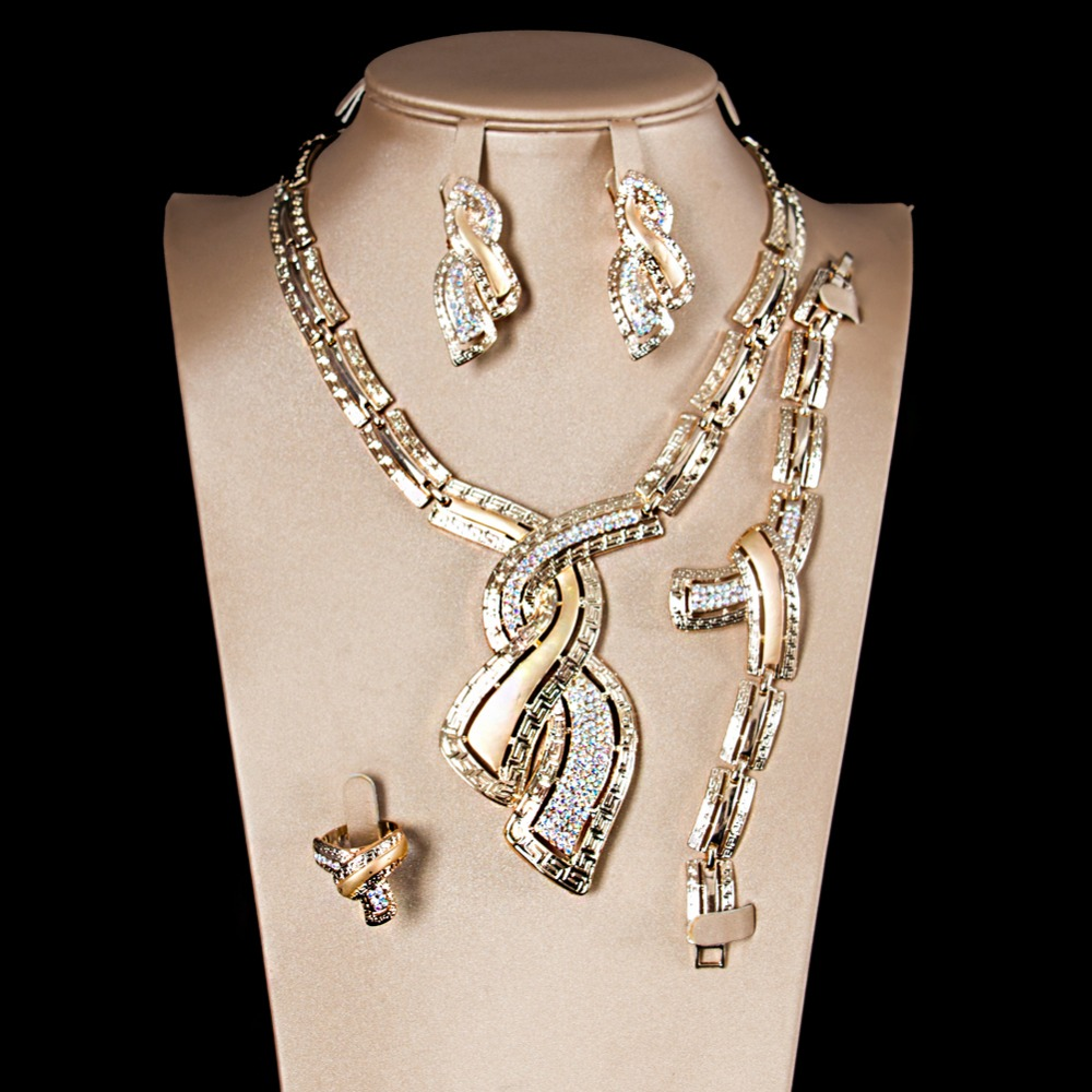 LAN PALACE new luxury gold color ladies copper alloy jewellery set earrings necklace ring bracelet free shipping