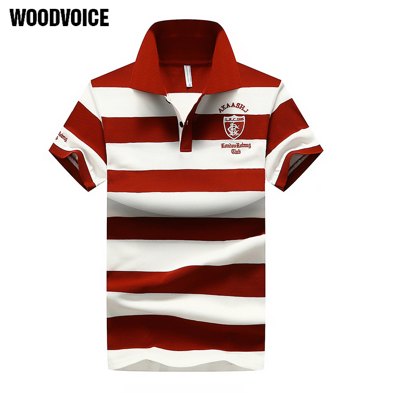 Woodvoice Brand Hot Cotton Striped Polo Shirts Turn-down Collar Shorts Sleeve Shirt Hot Sales Red Blue Brown Men's Polo Shirts