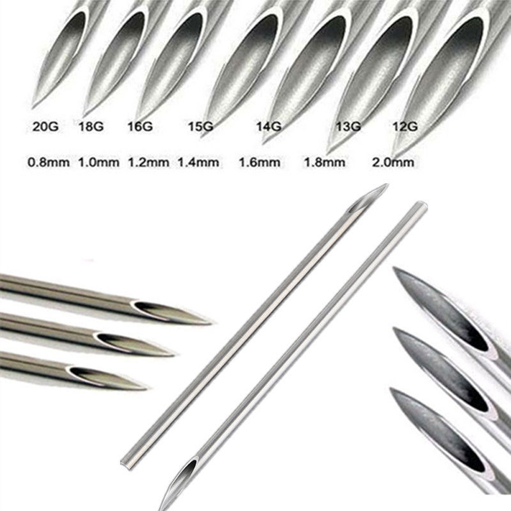 100 pcs / pack Tri-Beveled Kelas Medis Bedah Baja Body Piercing Needle Steril Jarum Pasokan