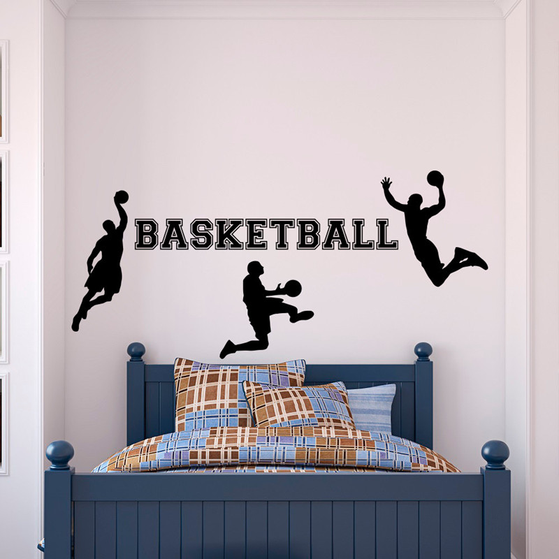 Basketball Player With Kids Name Wall Decal Custom Baby Boys Name Wall Sticker Home Decor, Personalized Childrens Wall Stickers