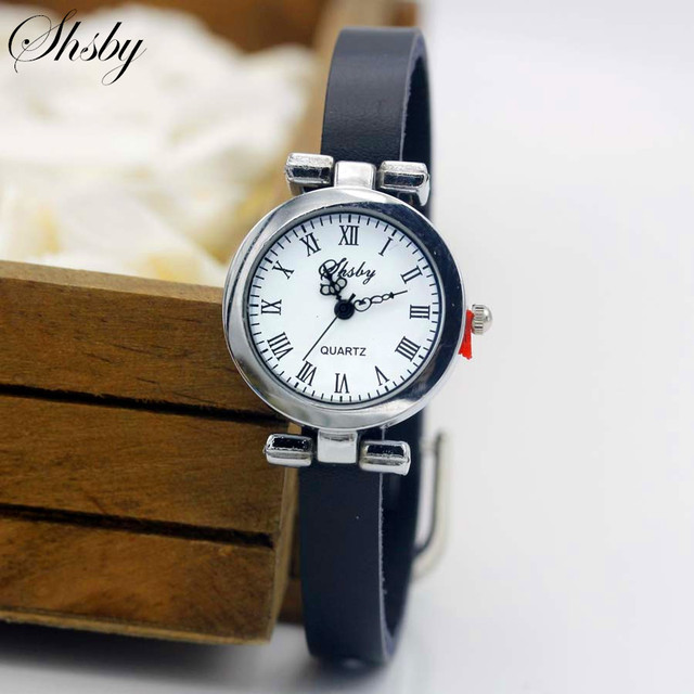 Shsby New fashion leather strap watch female ROMA silver Bracelet watch women dr