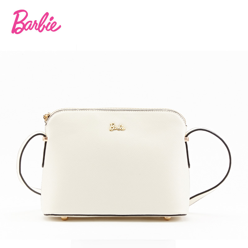 Barbie Women's shoulder Bag shell Leather sweet simple style white ladies handbag female fashion Cross body Bags for women barbie 2018 women s shoulder bag leather simple style black ladies handbag female fashion cross body bags for women
