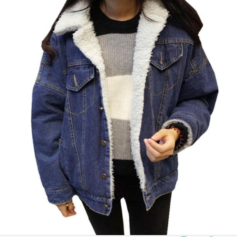 5858099c0636a Winter Fleece Lining Thicken Womens Denim Jackets Fur Collar Oversize  Boyfriend Jeans Coat 2018 New Loose
