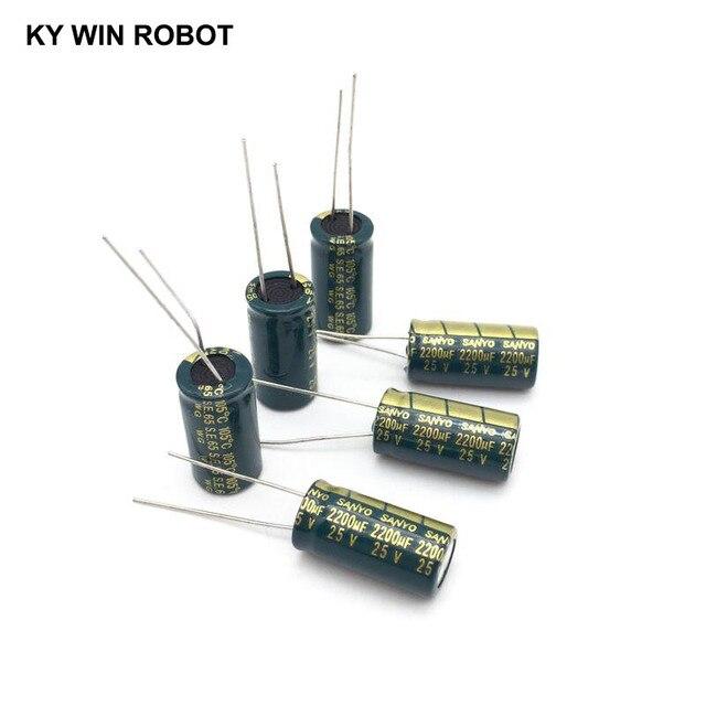 10 pcs אלומיניום אלקטרוליטי קבלים 2200 uF 25 V 10*20mm frekuensi tinggi רדיאלי אלקטרוליטי kapasitor
