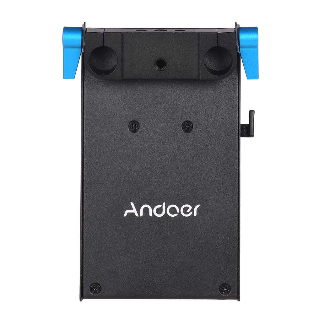 Andoer V جبل V-قفل لوح بطارية محول NP-FW50 الدمية مهايئ بطارية ل BMCC BMPCC سوني ل رصد مسجل ميكروفون