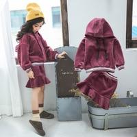 kids boutique clothes sweatshirt +skirt 2 pieces clothing sets 2018 autumn winter girls Hooded velvet clothes suit