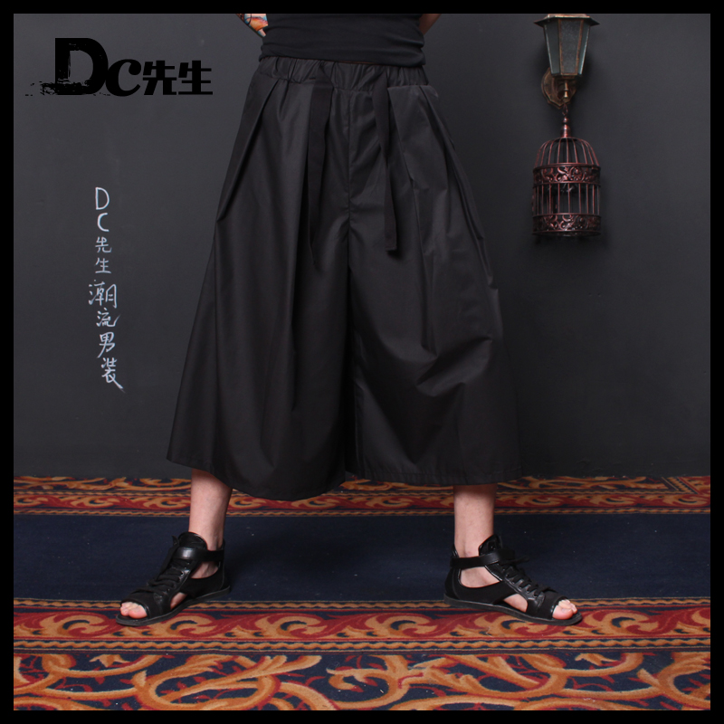 S-5XL! Big yards  2018  Summer wear new Korean version of the casual nine-cent skirt baggy dark low-crotch crotch baggy pants