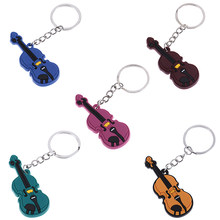1PCS Guitar Ukulele Keychain Keyring Plastic Musical Instrument Key Chains Keyholder Pendant for Women Men Bag Car Gift(China)