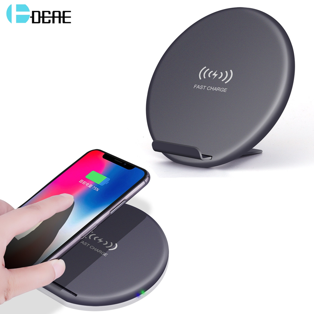 DCAE Fast Wireless Charger For iPhone X 8 Plus USB Charger Phone Qi Wireless Charger For Samsung S9 S8 Wireless Charging Stand