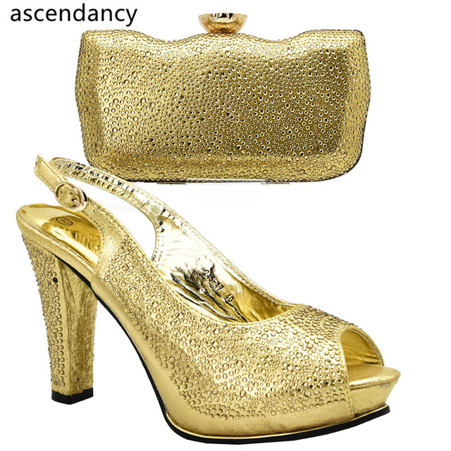 Gold Color Shoes And Bag Sets For Women Italian Bags Set Envio Gratis African