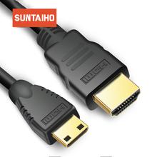 9FT 1 M 2 M 3 M 5 M 10 M wysokiej prędkości pozłacane złącze HDMI na MINI HDMI wtyk męski-męski kabel HDMI 1 4 w wersji 1080 p 3D dla tabletów DVD tanie tanio Projektor Komputer Multimedia TV BOX Monitor Telewizja Mężczyzna Mężczyzna Kable HDMI MINI HDMI cable Woreczek foliowy