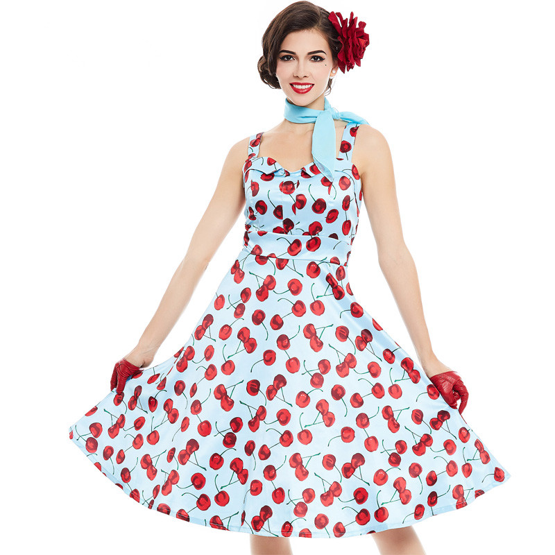 New 1950s Vintage Dress Style Floral Print Summer Cherry ...
