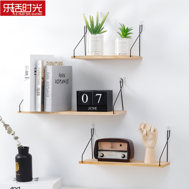 Nordic Simple Wall Mounted Storage Shelf Wooden Bookshelf Toys Organizer Flower Holder Creative Decoration For Home