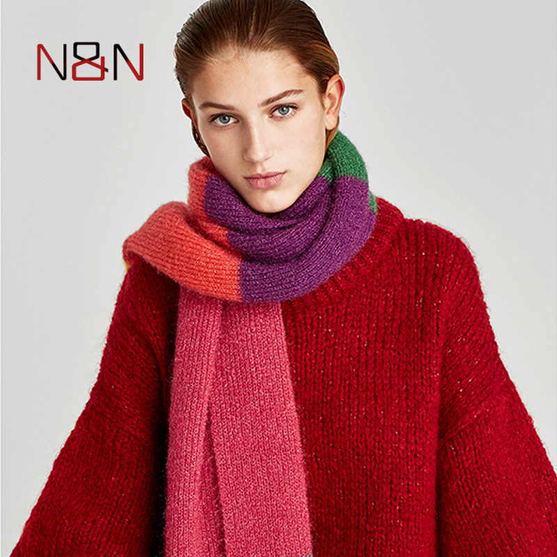 Winter Cashmere   Scarf   Women Luxury Brand Striped Loose Size   Scarves   Warm Blanket Shawls and   Scarves     Wraps   Fahsion NN-CS-037
