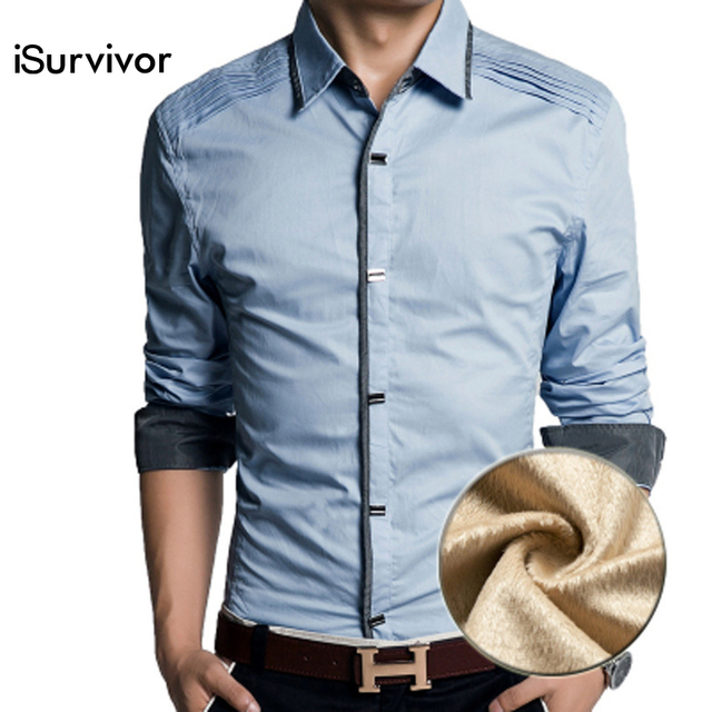 2016 Men Shirt Men's Casual Fashion Slim Fit Long Sleeved Winter Thickening 100% Cotton Shirt Men Camisa Masculina Dress Shirt