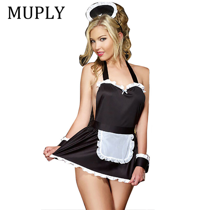 Maid Uniform Costumes Role Play 2019 New Women Sexy Lingerie Hot Sexy Underwear Lovely Female White Pocket Erotic Costume