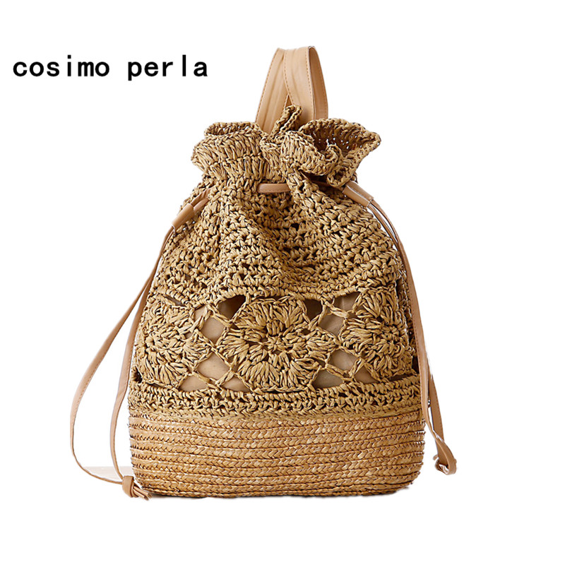 Handmade Crochet Flower Beach Bag Woven Straw Drawstring Backpacks Women 2019 Hollow Out Bucket Causal Boho Travel Shoulder Bag