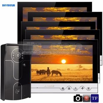 DIYSECUR 9inch Video Record Photograph Video Door Phone Doorbell Waterproof HD RFID Camera Home Security Intercom