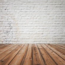Laeacco White Brick Wall Wooden Floor Portrait Grunge Photography Backgrounds Customized Photographic Backdrop For Photo Studio