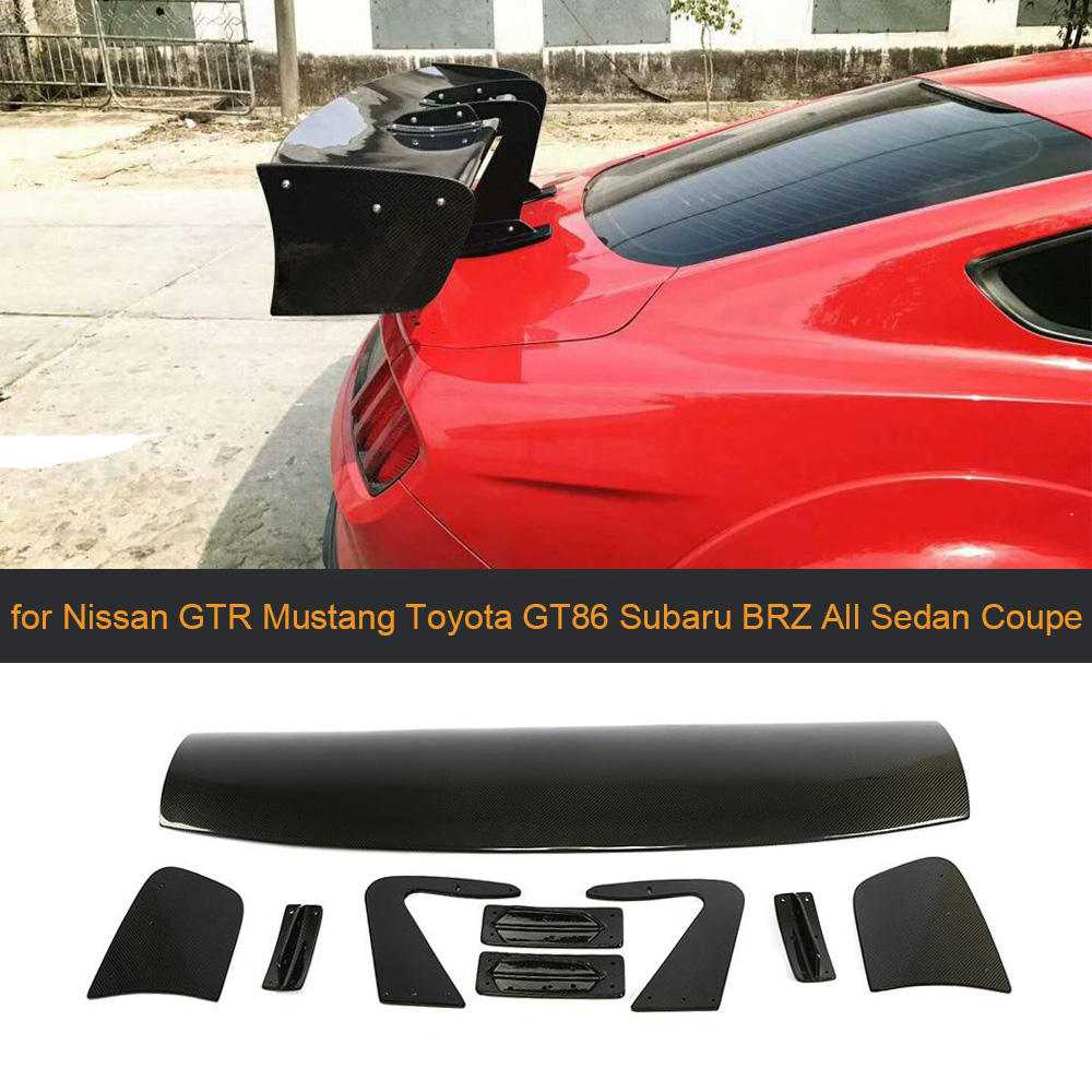 Car Rear Trunk Wing Spoiler for Ford Focus Nissan GTR Mustang <font><b>Toyota</b></font> <font><b>GT86</b></font> Subaru All Sedan Coupe <font><b>Carbon</b></font>/FRP Big Barb Universal image
