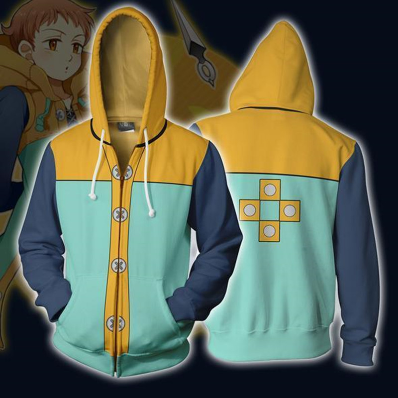 3D Printing Plus Size S-5XL The Seven Deadly Sins Sweatshirt Hoodies Cosplay Man King Zipper Hoodies Thin Sweatshirts Jackets