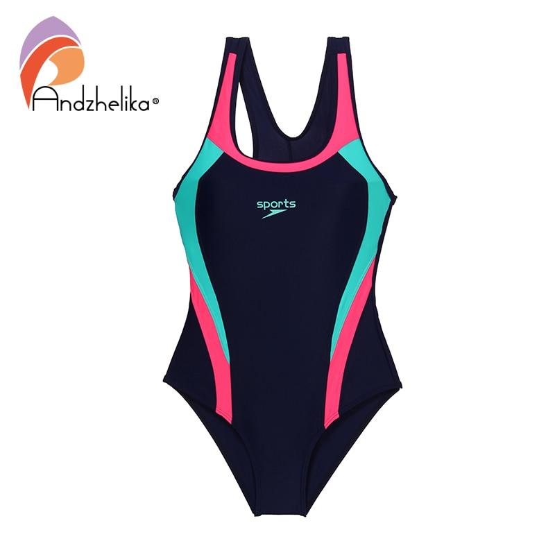 Andzhelika 2021 New Children Swimsuit Girls Sport One Piece Swimwear Patchwork Bodysuit Kid Bathing Suit Child Beach Monokini