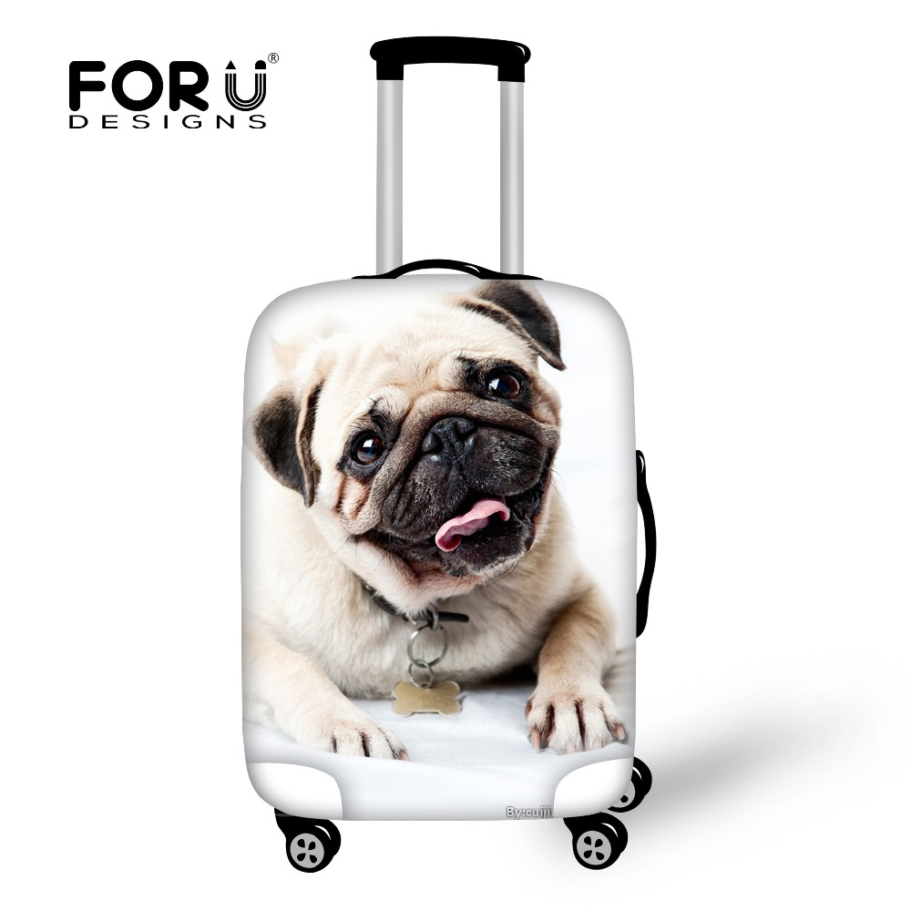Zīmola ceļojuma bagāžas aizsargpārklājumi 3D dzīvnieku lolojumdzīvnieku mopsa suņu segums 18-30 collu koferim elastīgai bagāžas pārsegai uzvalka uzvalks