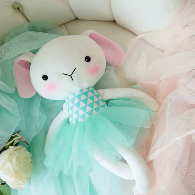 ins High quality Baby stuffed Green dressing rabbit toy plush Soft Skirt Cat/Lamb doll baby sleeping appease toy gift for girl