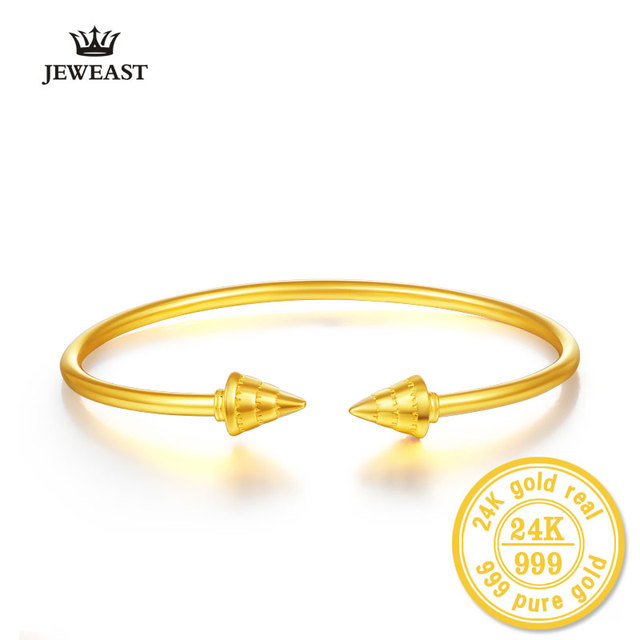 24k Pure Gold Bangle For Women Solid 999 Real Girl Miss Lady Punk Bracelets New Fashion Fine Jewelry Wedding Engagement Gift