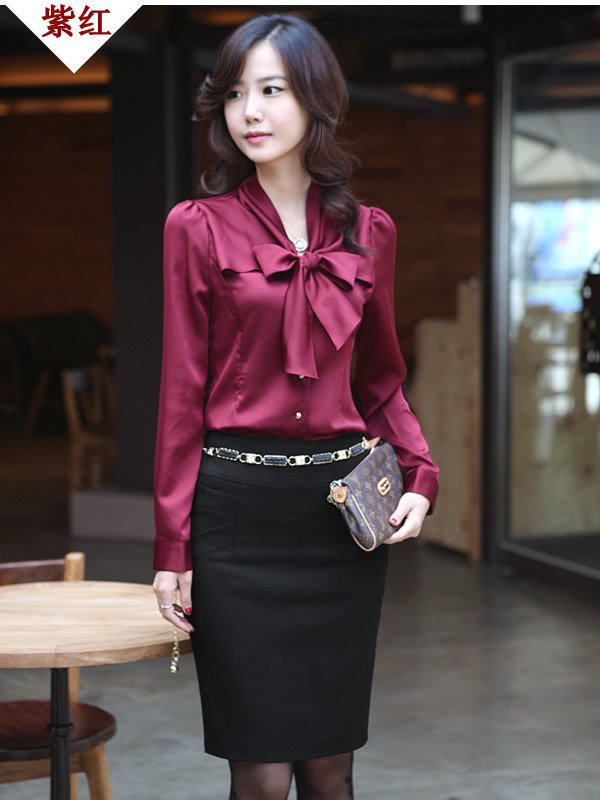 Women Faux Silk Shirt Long Sleeve Blouse Elegant Vintage Tops Ladies