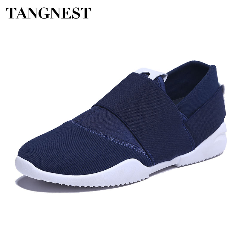 Tangnest Fashion Canvas Men Casual Shoes Breathable Men Slip-on Light Flats White Black Patchwork Shoes Man Loafers XMR2608