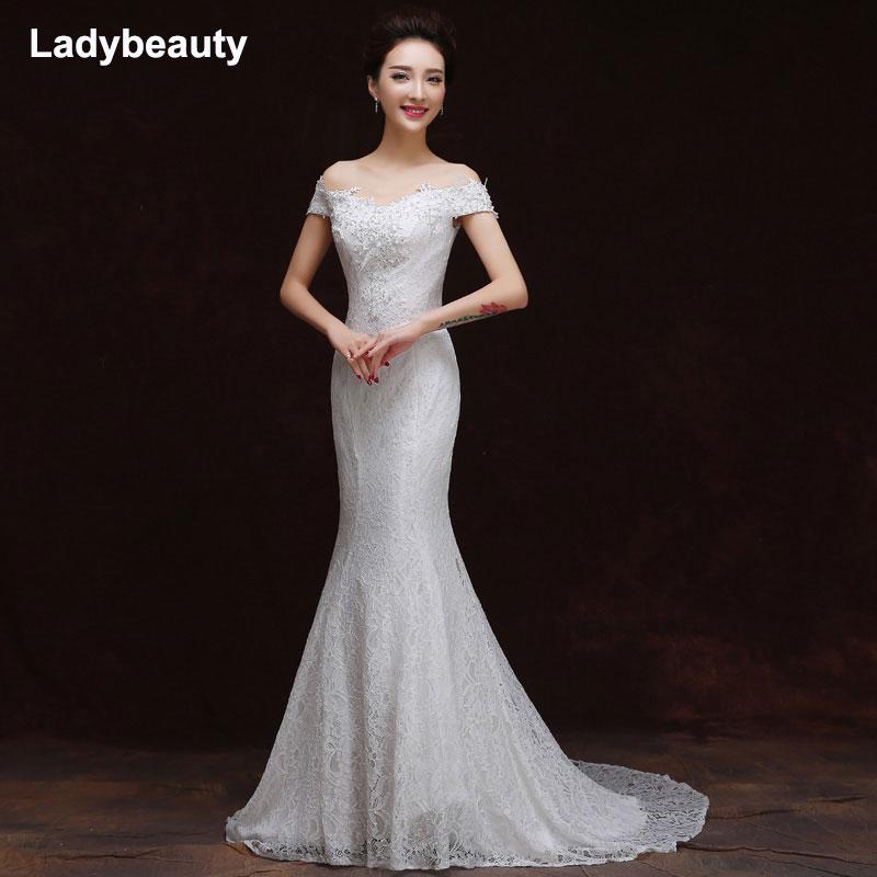 Ladybeauty 2018 Sexy nouveau blanc bateau cou sirène robe de mariée perles robe de mariée