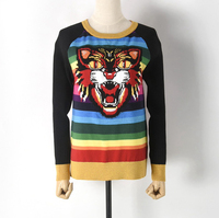 Women's round collar color striped animal head knitwear sweater