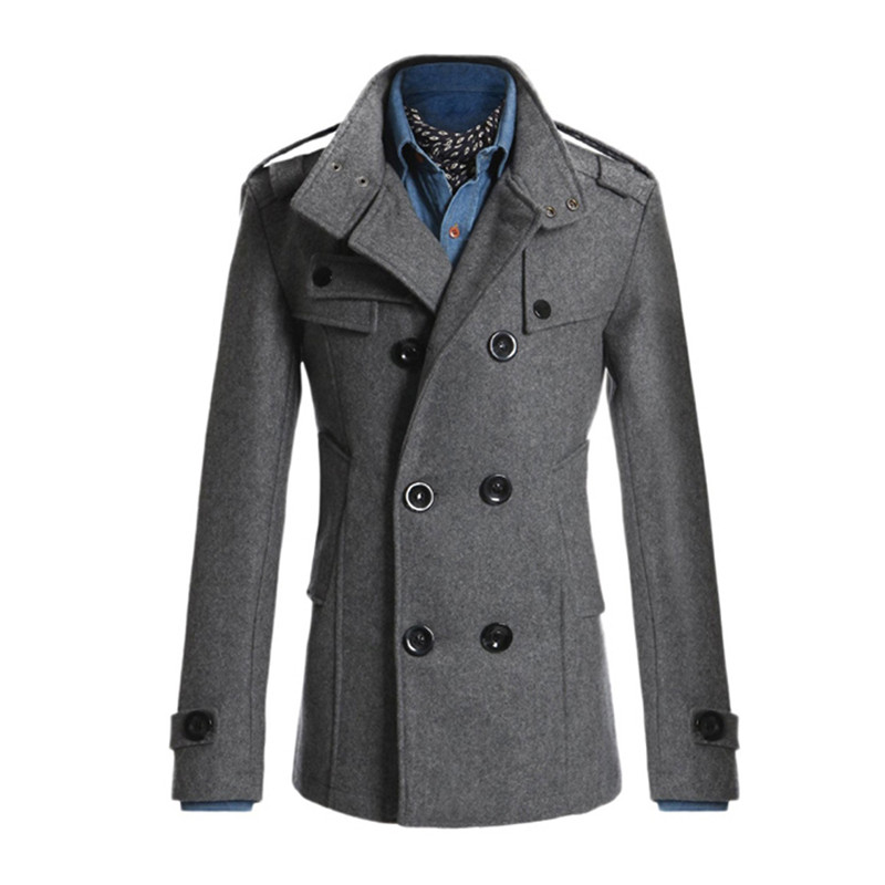 Fashion Winter Double Overcoat Men Breasted Cotton   Trench   Plus Size Long Oversized Warm Coat Turn-Down Collar Gentlemen Coat