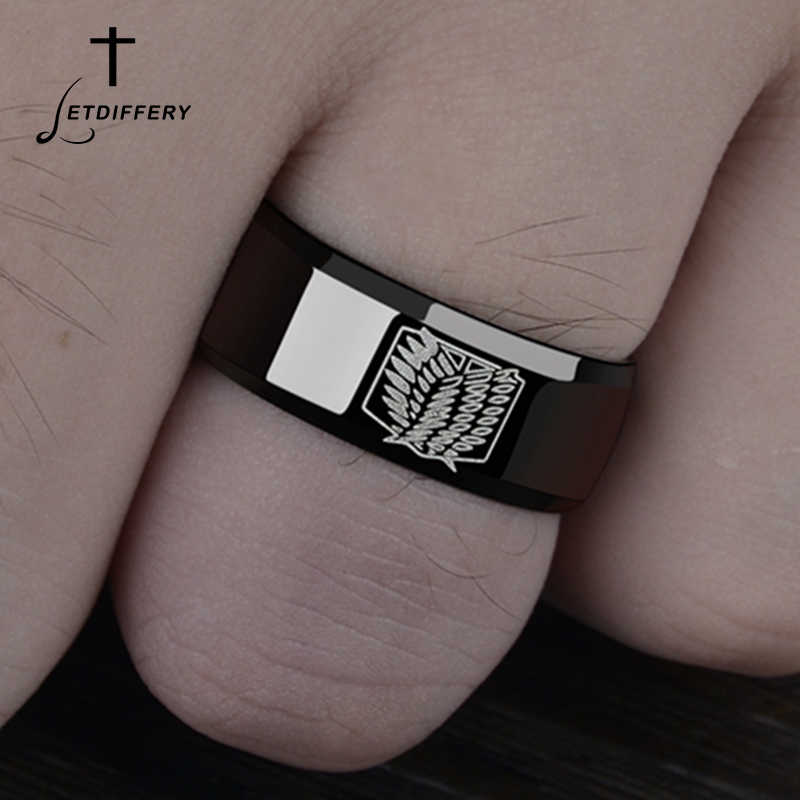 Letdiffery Titanium Anime Attack on Titan Rings Wings Of Liberty Flag Finger Rings For Anime Fans