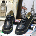 LIN KING New Women Oxfords Spring Winter Lace-Up Flats Round Toe Creepers Casual Ladies Platform Shoes Martin Single Shoes