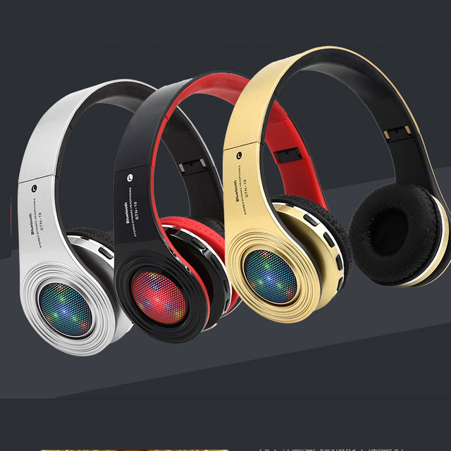 LED Glowing Bluetooth  Stereo Bass Headsets built-in Mic
