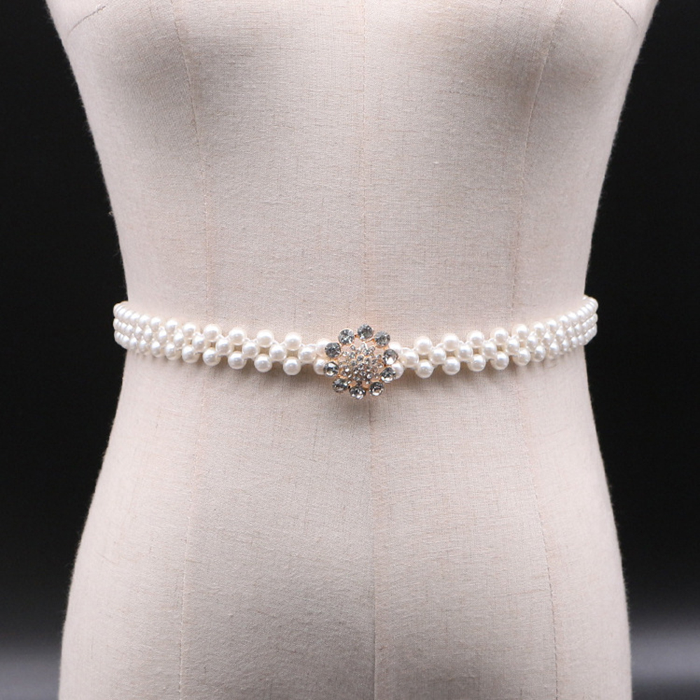 Buckle Inlaying Rhinestone Pearl Elastic Belt Women Strap Dress Accessories Slim Seal Temperamental Elegant Alloy Pearl Belt