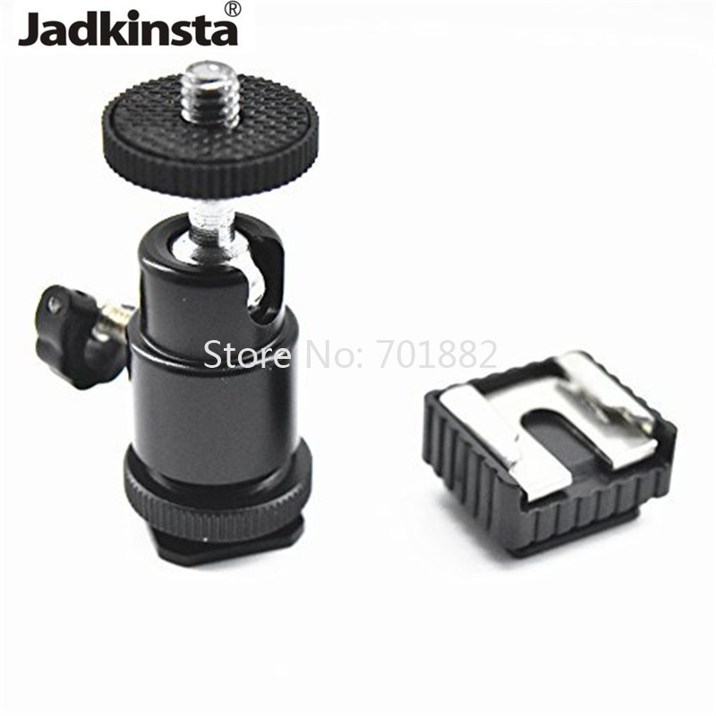 Light Stand Head Adapter: Jadkinsta Tripod Head Mini Ballhead Hot Shoe Adapter 90