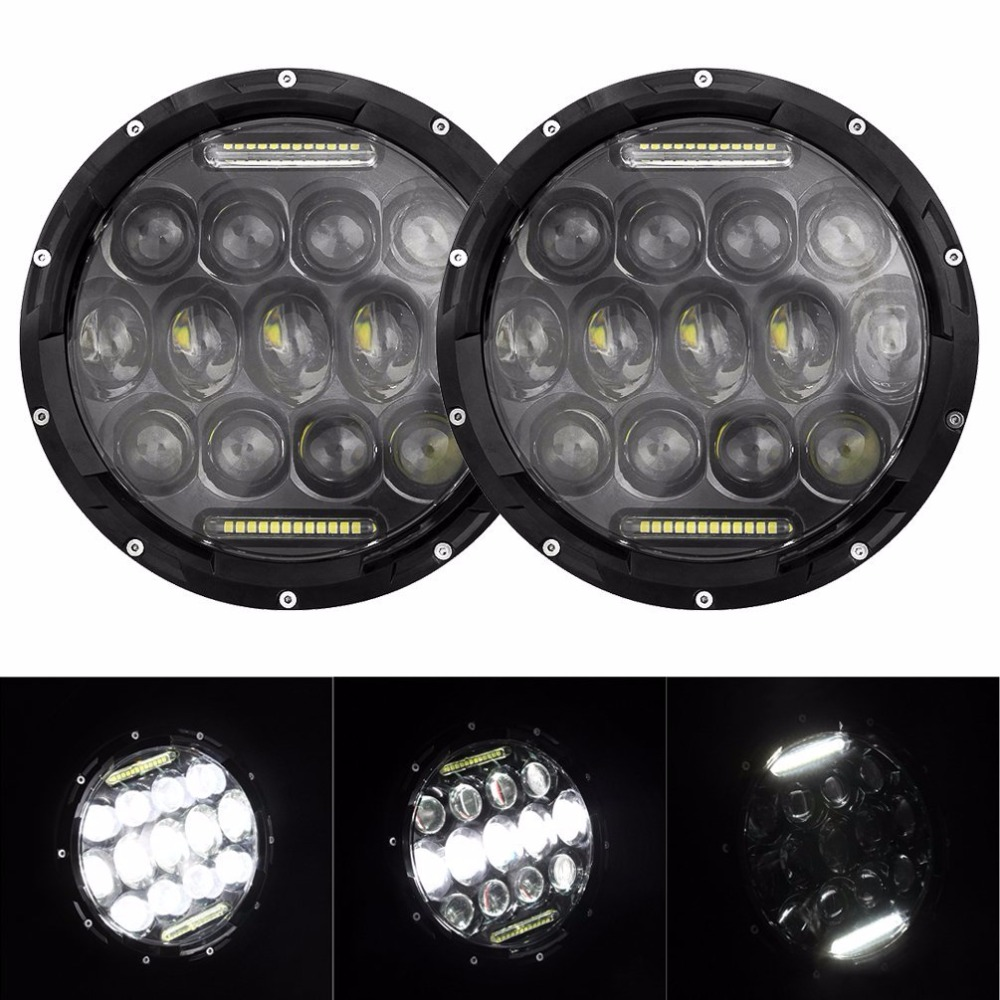 7 inch 75W headlight Hi/Lo Beam 6000K LED white Angel eye Daymaker Round LED headlamp for jeep Wrangler night lord 2pcscar led light h4 headlight head lamp dipped beam low beam or high beam hi lo 6000k white for fit 2011 2015 year