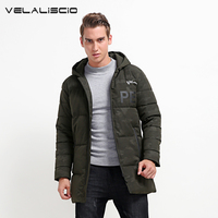 VELALISCIO Men S Winter Fur Down Long Thick Parkas Jackets Autumn Fashion Casual Hooded Waterproof Warm