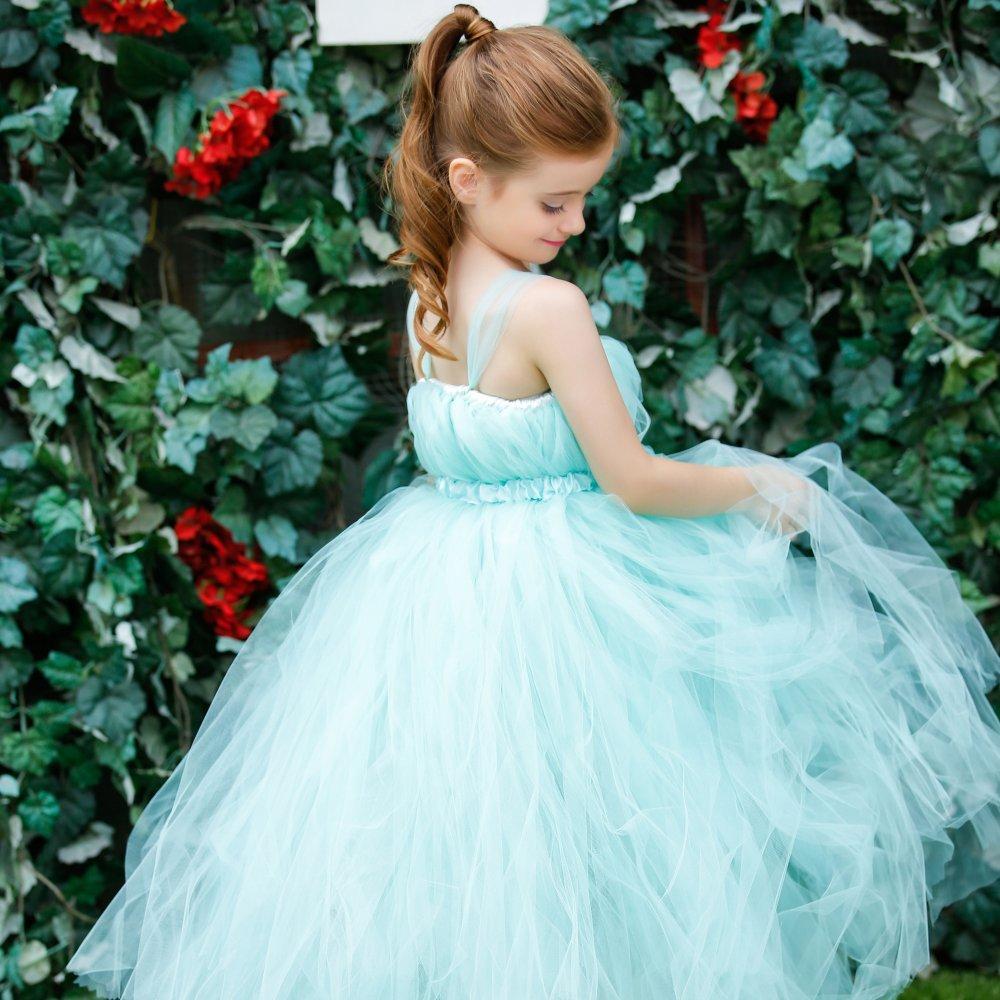 Super Fluffy TiffanyBlue Wedding Girl Flower Dresses with extra ...