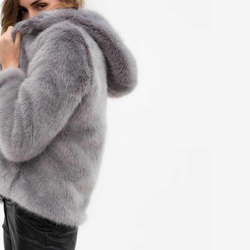 Kadınlar Kış Kapşonlu Taklit Kürk Mantolar Ceketler Kalınlaşmak Sıcak Kabanlar Palto Kadınlar Kabarık Tilki Kürk Ceketler 10 Renk Artı Boyutu XXXL