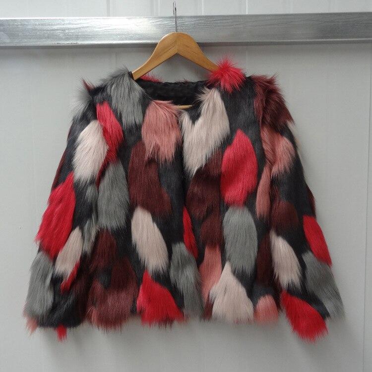 Women Mixed Color Man-Made Fur Jacket Casual Plus Size Faux Fur Coats Female Short Section Fur Outwear Casaco De Pele Falso Ck43 11