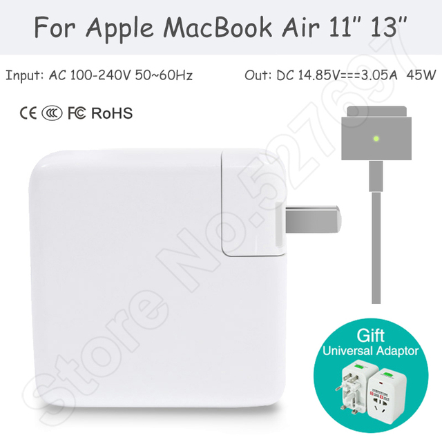 Brand 45W MagSafe 2 Power Adapter AC Adapter 14.85V 3.05A for Apple MacBook Air 11 inch 13.3 inch Early 2015 2014 Mid 2013 2012